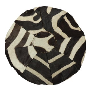 Vintage Round Patchwork of Zebra Skin For Sale