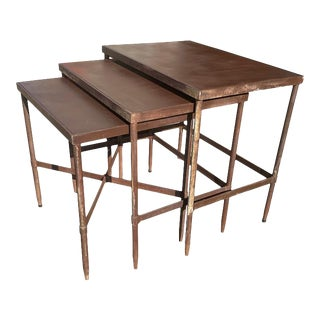Vintage Industrial Metal Nesting Tables Loft Side Tables - Set of 3 For Sale