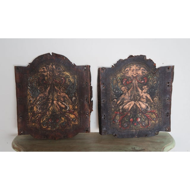Pair of 19th C. Spanish Leather Panels For Sale - Image 10 of 10