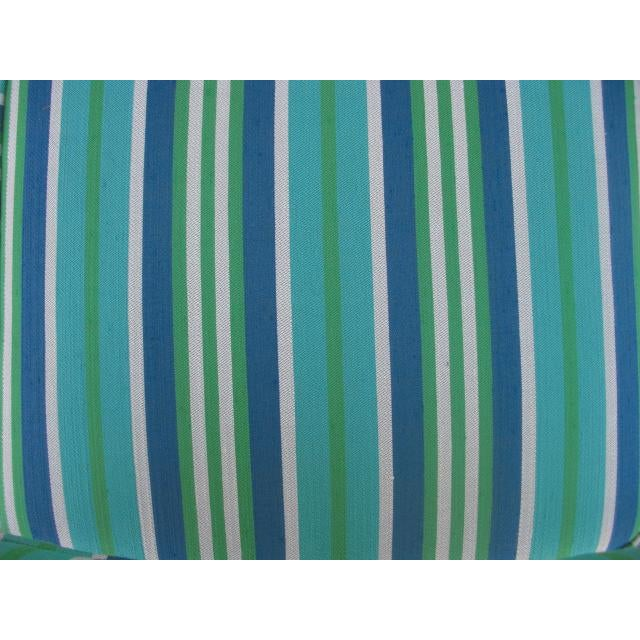 Metal Mid-Century Modern Reupholstered Striped Steelcase Armchair For Sale - Image 7 of 9