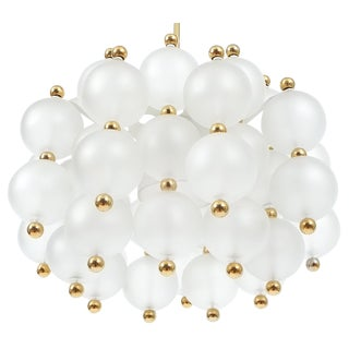 Satin Glass Chandelier Lamp in the Style of Seguso With Gold Knobs, circa 1980 For Sale