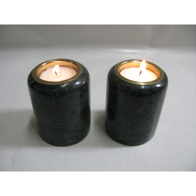 1980s Green Marble Candle Holders - a Pair For Sale In Charleston - Image 6 of 10