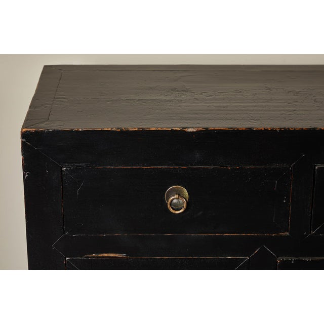 Asian 18th C. Chinese Black Lacquer Elm Sideboard For Sale - Image 3 of 10