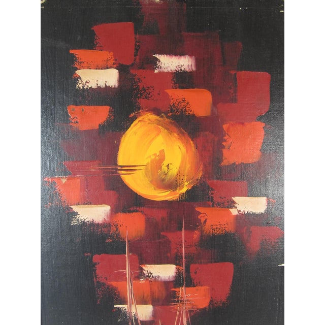 Mid-Century Abstract of Ships at Night - Image 4 of 5