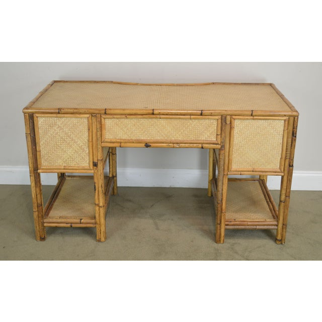 1960s Vintage Rattan Writing Desk For Sale - Image 5 of 12