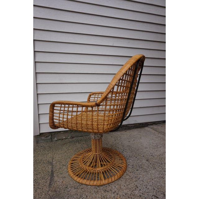Bamboo Franco Albini Era Bamboo Swivel Chair For Sale - Image 7 of 11