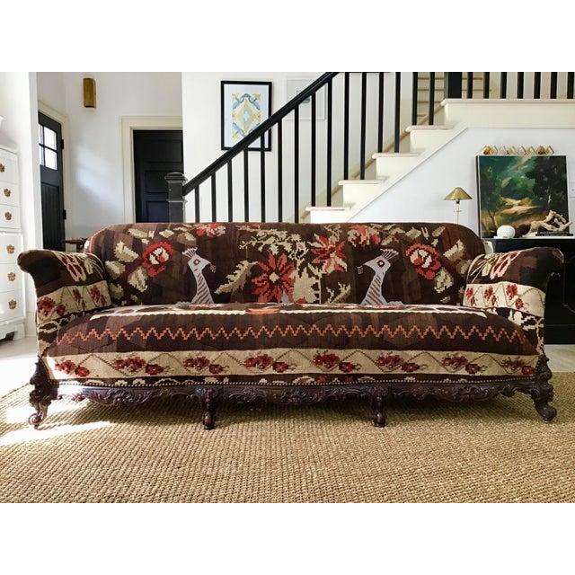 Orange Antique French Serpentine Sofa Upholstered in Antique Karabagh Peacock Kilms For Sale - Image 8 of 13