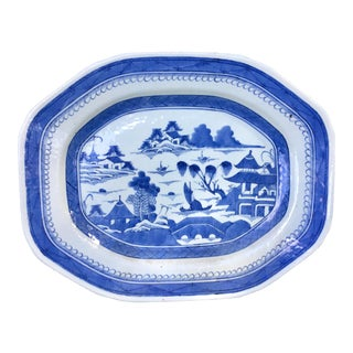 Extra Large 19th Century Chinese Canton Blue & White Platter For Sale