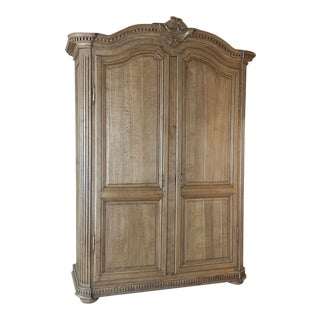 Early 19th Century Country French Stripped Oak Armoire For Sale