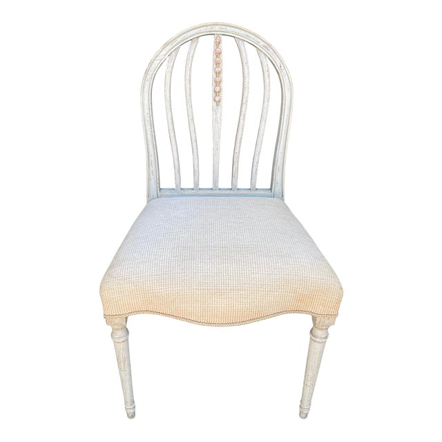 Gustavian Style Swedish Paint Decorated Side Chair For Sale