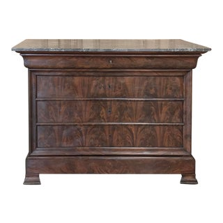 19th Century French Louis Philippe Marble Top Commode For Sale