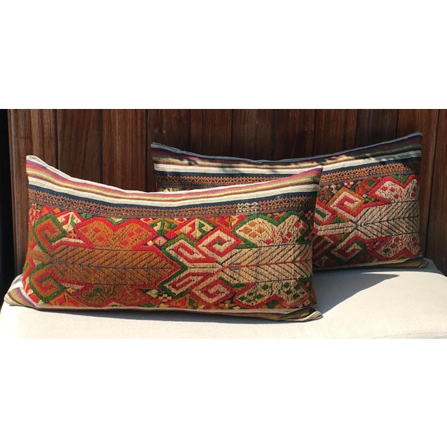 Pair of Vintage Handwoven Embroidered Pillows (100% Linen back). I believe it is from the Tai Dam or Tai Daeng people from...