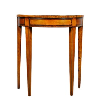 George III Satinwood Demilune Console Table For Sale