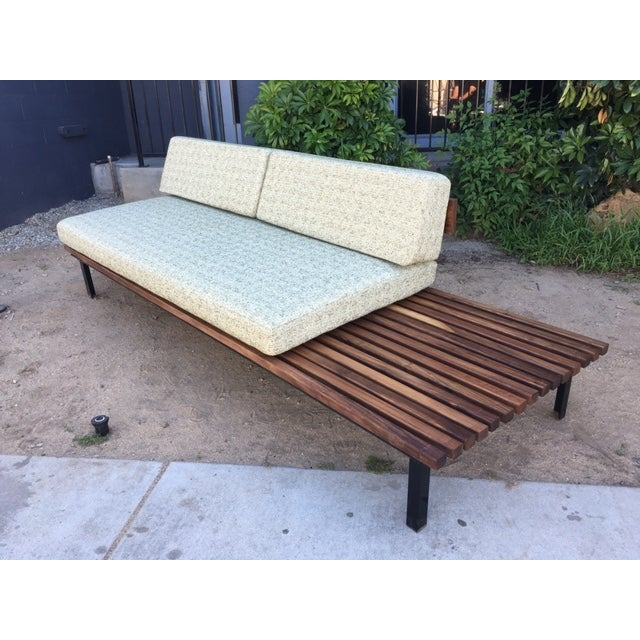 Mid-Century Green Tweed Daybed Sofa & Side Table - Image 2 of 4