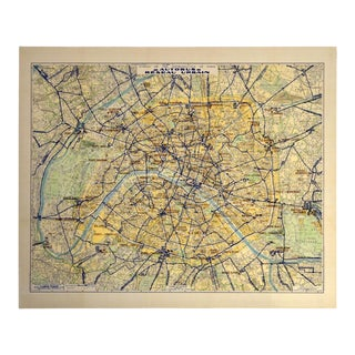 Vintage Large Autobus Réseau Urbain Paris Map For Sale
