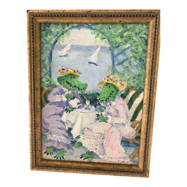 "Genie Callan ""Alligators Sipping Lemonade"" Oil Painting For Sale"