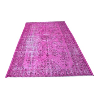 1980s Turkish Oushak Hot Pink Rug - 5′8″ × 9′3″ For Sale