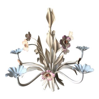 Vintage Floral Tole Chandelier- Peach and Lavender Flowers For Sale