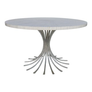 Ironies Silver Gilt Metal Table W/ Tessellated Bone Top For Sale