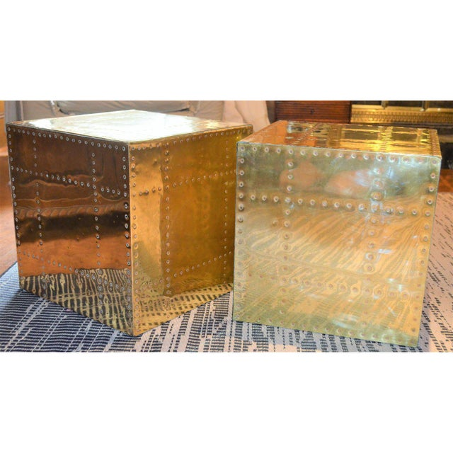 This is a pair of vintage, Sarreid studded brass clad cube tables! They are the ultimate vintage design pieces! These...