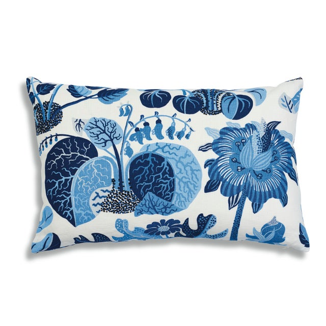 """This 14"""" x 22"""" pillow features Exotic Butterfly in Marine. A faithful reproduction of a never-before-seen design by..."""
