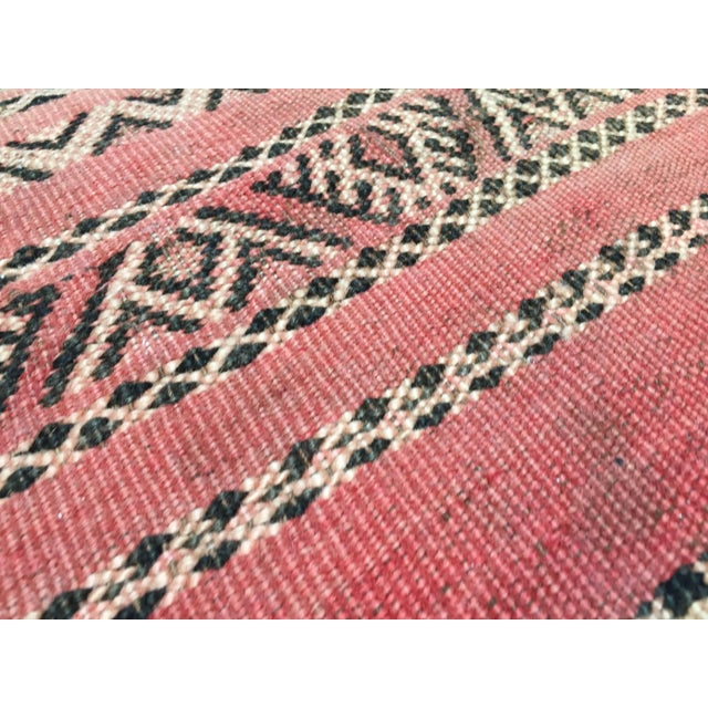 Moroccan Floor Pillow Tribal Seat Cushion Made From a Vintage Berber Rug For Sale - Image 12 of 13