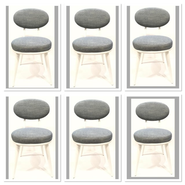 Wood Drexel Heritage Blue-Gray Dwelling Dining Chairs Set of Six For Sale - Image 7 of 7