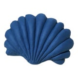 Image of Large Shell Pillow - Indigo Linen For Sale