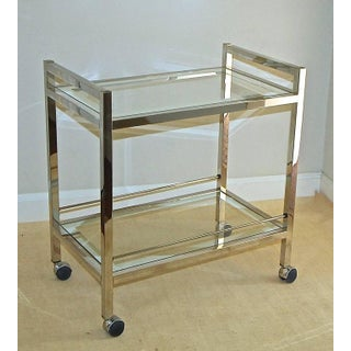 1970s Vintage Modern Chrome Two-Tier Bar Cart Preview