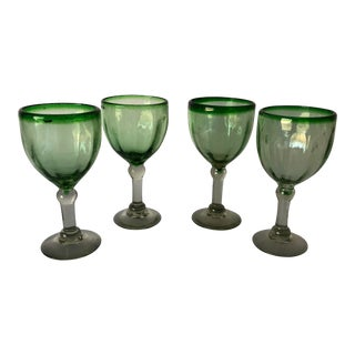 Modern Mexican Green Wine Glasses Set of 4 For Sale