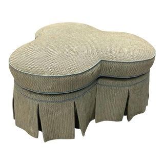 Vintage Clover Upholstered Ottoman For Sale