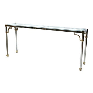 1960s Jansen Style Chrome Brass Glass Console Table For Sale
