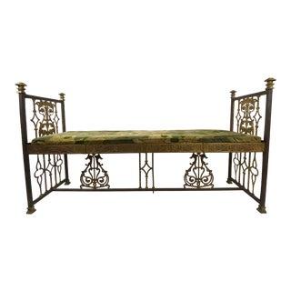 Vintage Gold Gilt Iron Renaissance Style Bench For Sale