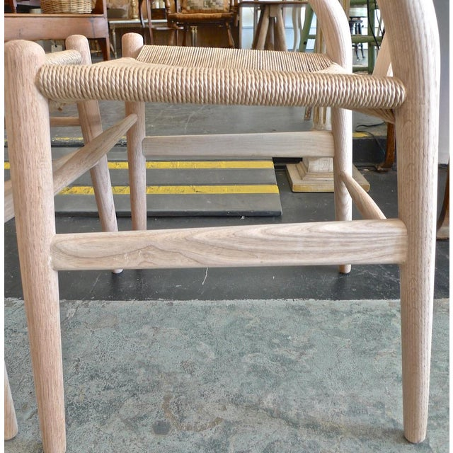 Contemporary Danish 1960s Style Wishbone White Oak Riff Wood Arm Chairs - Set of 6 For Sale - Image 11 of 13