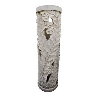 Balinese Carved Stone Pedestal With Fern Motif For Sale