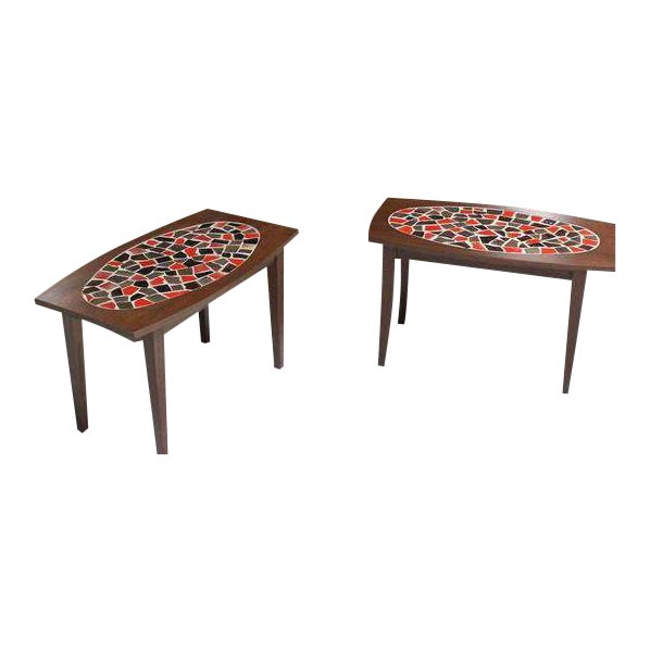 Mid Century Vintage Walnut and Tile Mosaic Side Tables- A Pair For Sale - Image 9 of 9