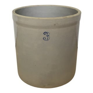 Vintage Tan Stoneware Crock For Sale
