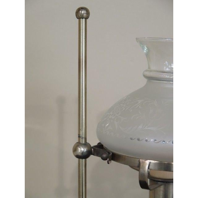 LF43796: FREDERICK COOPER Brass Oil Lamp Style Table Lamp with Globe Age: Approx. 30 Years Old Details: High Quality...