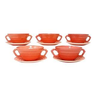 1940s Moderntone Soup Bowls & Plates - 10 Pieces For Sale