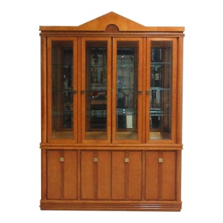 Hickory White Neoclassical Breakfront China Cabinet