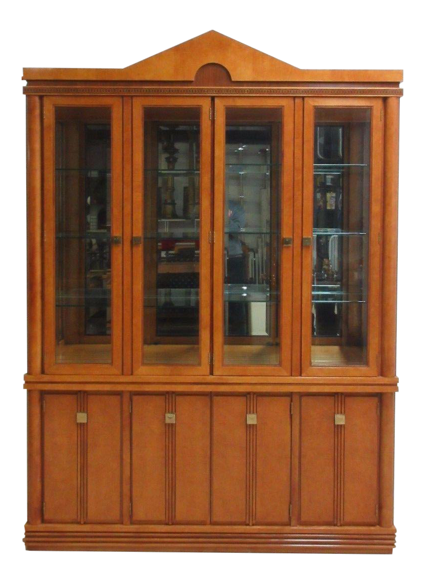Beau Hickory White Neoclassical Breakfront China Cabinet