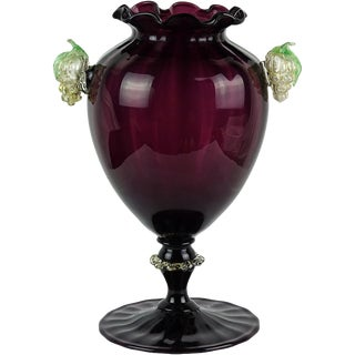 Murano Venetian Italian Deep Purple Attached Grapes Art Glass Flower Vase For Sale