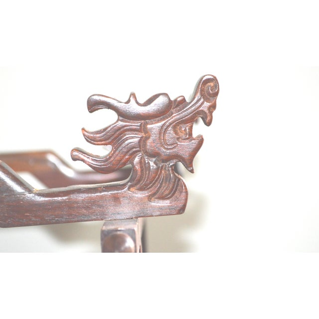 Asian Chinese Asian Japanese Brush Holder Miniature Bed Shape Rose Wood Carved Keys Antique Vintage For Sale - Image 3 of 11