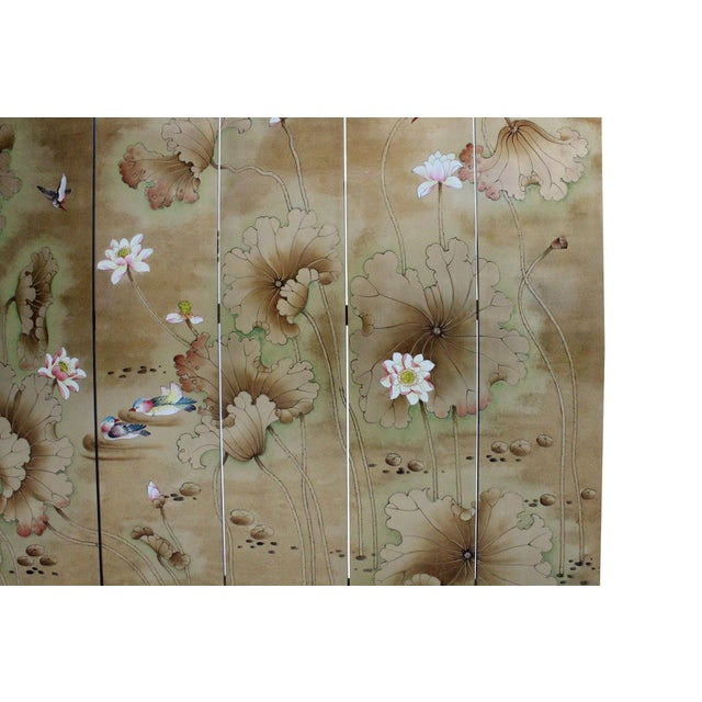 Chinese Golden Oriental Lotus Flower Birds Graphic Screen - Image 3 of 10