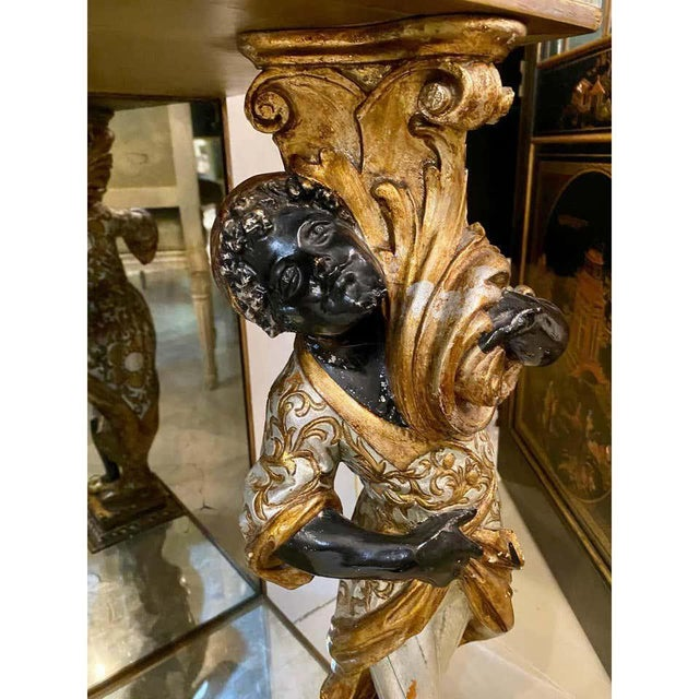 Hollywood Regency Jansen Figural & Églomisé Console Table, Sofa/Sideboard Table For Sale - Image 12 of 13