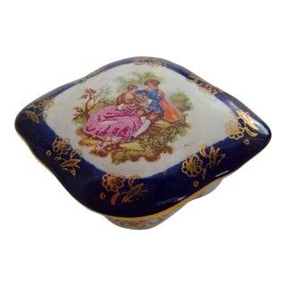 Vintage Oval Porcelain Trinket Box For Sale