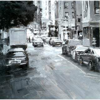 "Beckham Framed Oil Painting ""6th and Grand"", Contemporary Gray Cityscape For Sale"