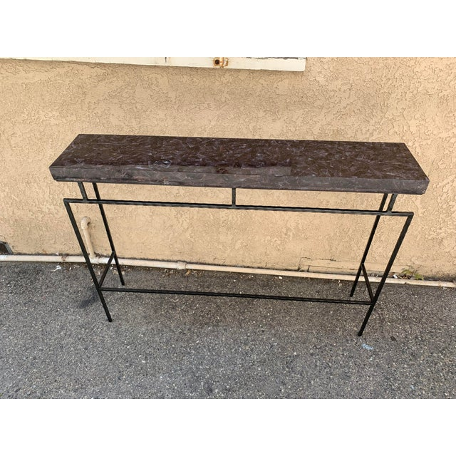 Contemporary Amethyst Penshell and Iron Console Table For Sale In Los Angeles - Image 6 of 6