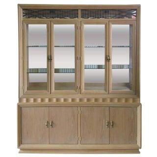 1980s Vintage 2 Piece Whitewashed Oak Illuminated China Cabinet For Sale