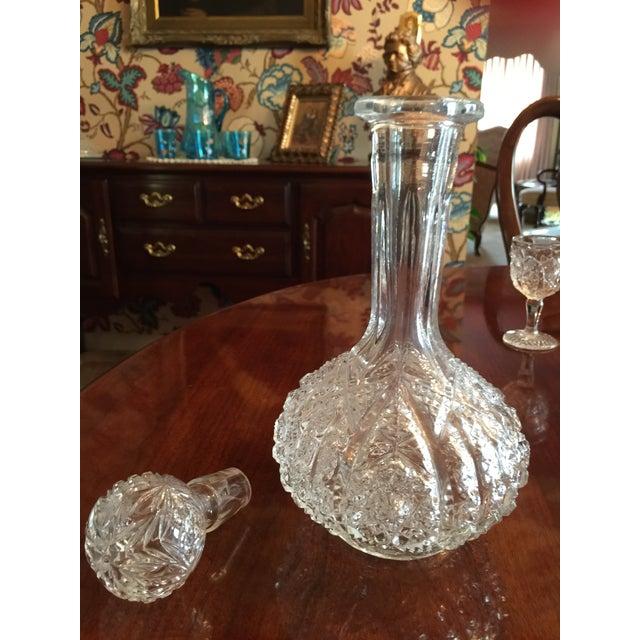 Transparent Vintage Pressed Glass Decanter With Goblets Wine Set For Sale - Image 8 of 12
